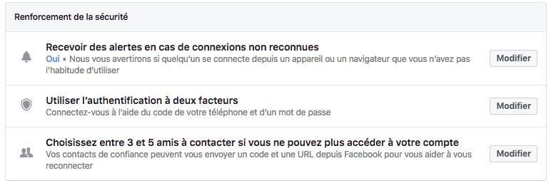 les différentes couches de sécurité facebook