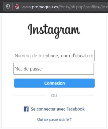 Fausse page de connexion Instagram