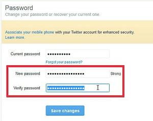 Change Twitter's password